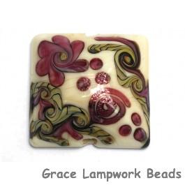 11806704 - Ivory w/Pink & Beige Stringer Pillow Focal Bead
