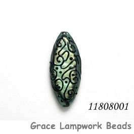 11808001 - Green Pearl Surface w/Black String Oval Focal Bead