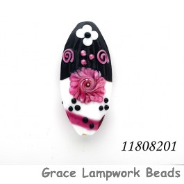11808201 - Black & White w/Pink Flower Oval Focal Bead