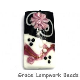 11808203 D - Black & White w/Pink Flower Kalera Focal Bead