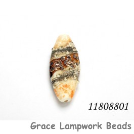 11808801 - Brown w/Ivory Oval Focal Bead