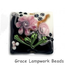 11809304 - White & Black w/Pink Flower Pillow Focal Bead