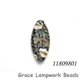 11809801 - Transparent Blue w/Ivory Beige Oval Focal Bead