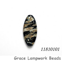 11810101 - Black w/Silver Ivory Oval Focal Bead