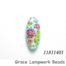 11811401 - Blue w/Pink Flower Oval Focal Bead
