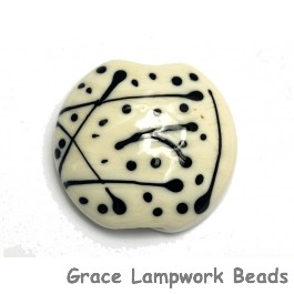 11812702 - Ivory w/Black Lentil Focal Bead