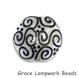 11813102 - Black & White Lentil Focal Bead