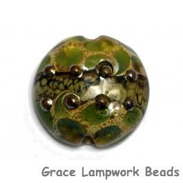 11813902 - Green w/Silver Foil Lentil Focal Bead