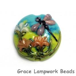 11816902 - Purple Dragonfly w/Orange Flora Lentil Focal Bead