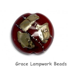 11818302 - Regal Red Metallic Lentil Focal Bead