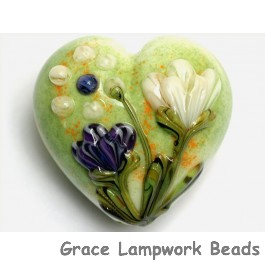 11819125 - Green w/White & Purple Flora Heart (Large)