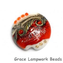 11831102 - Fire Red Stardust Lentil Focal Bead