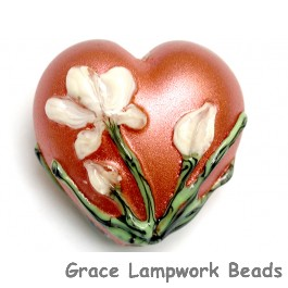 11832525 - Ivory Mist Flower on Coral Heart (Large)