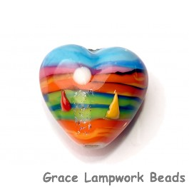 Grace Lampwork Beads, Hawaii Beach Sunset, heart