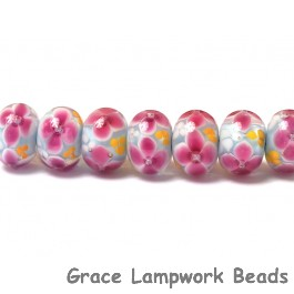 ST08 Clearance - Seven Pink Floral w/Light Blue Core Rondelle Beads