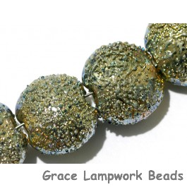 40101012 - Four Golden Green Metallic Lentil Beads
