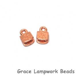 Silver Silk - Red Brass End Caps - Pair, 5mm