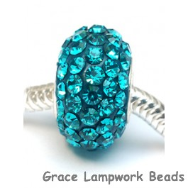 CRY12 - Large Hole Blue Zircon Swarovski Rondelle Bead