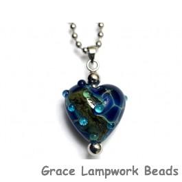 HN-11813705 - Deep Blue Ocean Heart Necklace