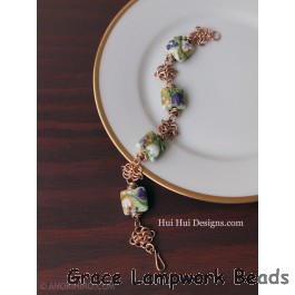 LC-Purple and White Floral Bracelet