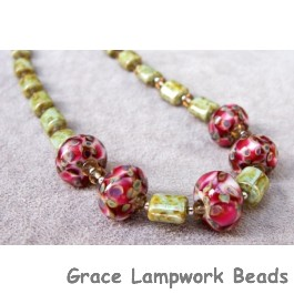 11106301 - Necklace w/Red, Ivory & Beige Rondelle Beads
