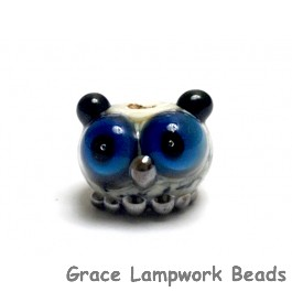 OWL-S-01 - Ivory, Black and Blue Free Style Owl Rondelle Bead