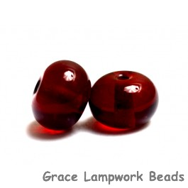 PR03 Clearance - Two Transparent Dark Red Rondelle Beads