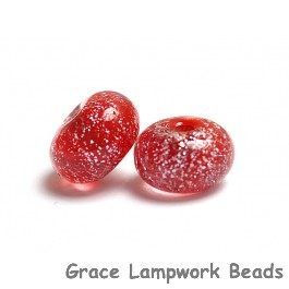 PR12 Clearance - Two Red with Silver Dichroic Rondelle Beads