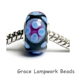 SC10008 - Large Hole Black w/Purple Rondelle Bead