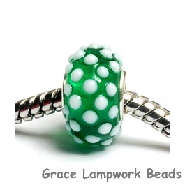 SC10011 - Large Hole Green w/White Dots Rondelle Bead