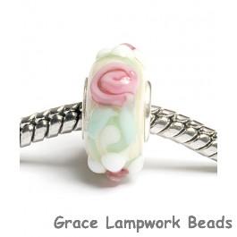 SC10012 - Large Hole Ivory w/Pink Flower Rondelle Bead
