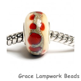 SC10027 - Large Hole Dark Ivory w/Red Dots Rondelle Bead