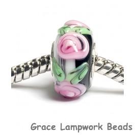 SC10029 - Large Hole Black w/Pink Flower Stringer Rondelle Bead
