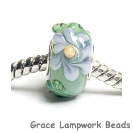 SC10039 - Large Hole Green w/Light Brown Flower Rondelle Bead