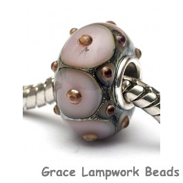 SC10104 - Large Hole Lavender Pink w/Metal Dots Rondelle Bead