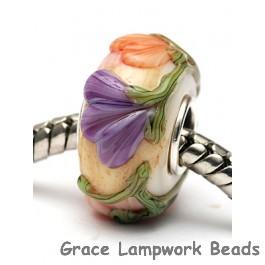 SC10105 - Large Hole Purple w/Orange Flora Rondelle Bead