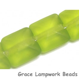 STP03 Clearance - Four Green Transparent Matte Finish Pillow Beads