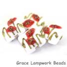 California Poppy Flower Glass Pillow Beads
