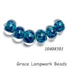 10408501 - Six Teal Blue Free Style  Rondelle Beads