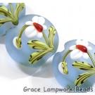 Four White Orchid Lentil Beads