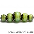 10507711 - Five Spring Green Shimmer Graduated Rondelle Beads