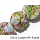 11005402 - Seven Light Pink w/Blue Floral Lentil Beads