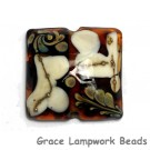 11809704 - Dark Brown w/Ivory Pillow Focal Bead