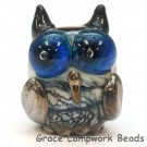 OWL-M-01- Ivory with black free style owl bead, size M