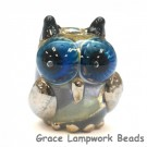 OWL-M-02- Blue dots with beige free style owl bead, size M