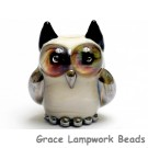 OWL-M-05 - Ivory Owl Bead with Brown Eyes, size M