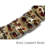 10305004 - Seven Brown Dark w/Ink Blue Dots Pillow Beads