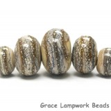 10306011 - Five Graduated Dark Ivory w/Silver Rondelle Beads