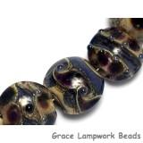 10407302 - Seven Black w/Ink Blue Silver Foil Lentil Beads