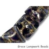 10407304 - Seven Black w/Purple Silver Foil Pillow Beads